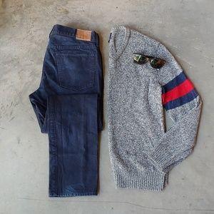 Gap Men's Gray Varsity Stripe V-Neck Sweater med